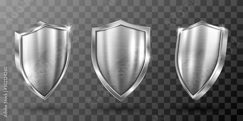 Valokuva Metal shield with frame realistic vector illustration