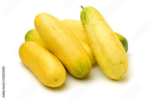 Valokuva  overripe cucumber on white background