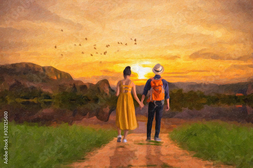 Obraz Oil painting-Young couple in love holding hand together walking - fototapety do salonu