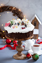 Christmas Cake Decorated With Snowy Winter Scene