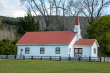 Cute Old Historic Weatherboard Church With Its Steeple In Rural Countryside