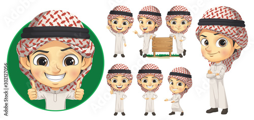 Arab Boy Character Set Fototapet