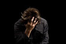 Man Sad Or Cry Alone In Dark B...