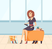 Smiling Woman Shopaholic Choosing New High Heels, Female Sitting On Chair And Looking At Mirror. Lady In Dress Buying Footwear, Purchasing . Vector Illustration In Flat Cartoon Style