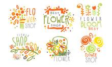 Set Of Contour Logos For A Flower Shop. Vector Illustration.
