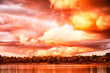 canvas print picture - Sky with fantastic, amazing, stormy, disturbing red clouds over the river on a summer or autumn evening