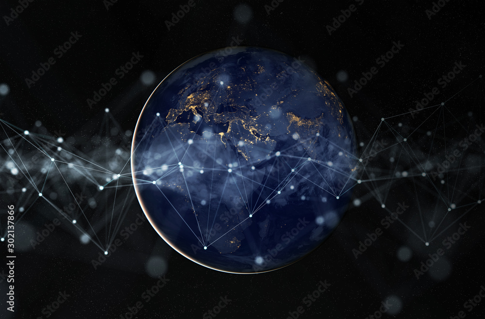 Fototapeta Global datas exchanges and connections system over the globe 3D rendering elements of this image furnished by NASA