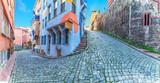 Fototapeta Uliczki - Fener district of Istanbul, beautiful narrow street panorama