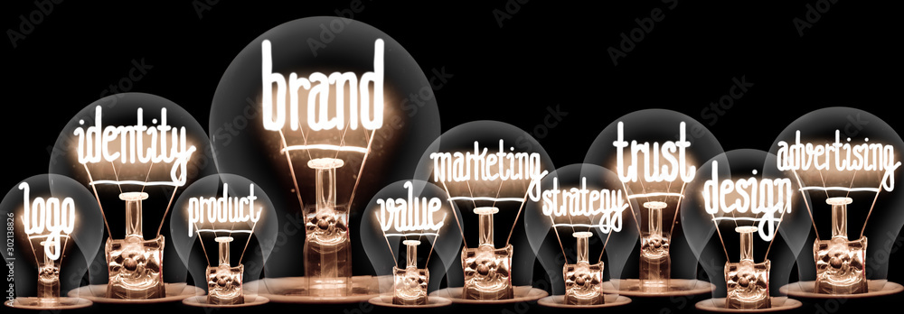 Fototapeta Light Bulbs with Brand Concept