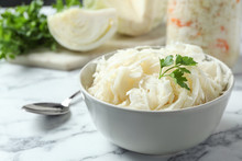 Tasty Fermented Cabbage On Whi...
