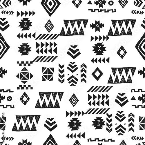 Fond de hotte en verre imprimé Style Boho Seamless Ethnic pattern. Tribal vector abstract monochrome background