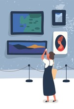 Woman Visiting Gallery Flat Vector Illustration. Young Art Lover Taking Pictures Of Paintings Cartoon Characters. Traditional Art Exhibition, Museum Exposition. Tourist Enjoying Classic Artworks.