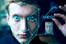 Portrait Of  Biometric Man. Face Scan. Technology Concept