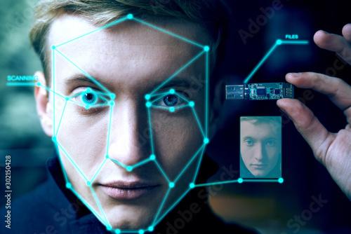 portrait of  biometric man. face scan. technology concept Canvas Print