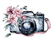 canvas print picture - Camera with flowers. Sketch watercolor hand painting, isolated on white background.