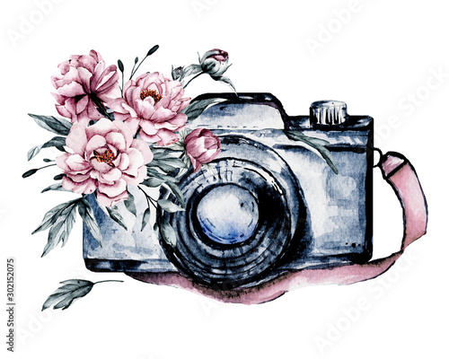 Camera with flowers. Sketch watercolor hand painting, isolated on white background.