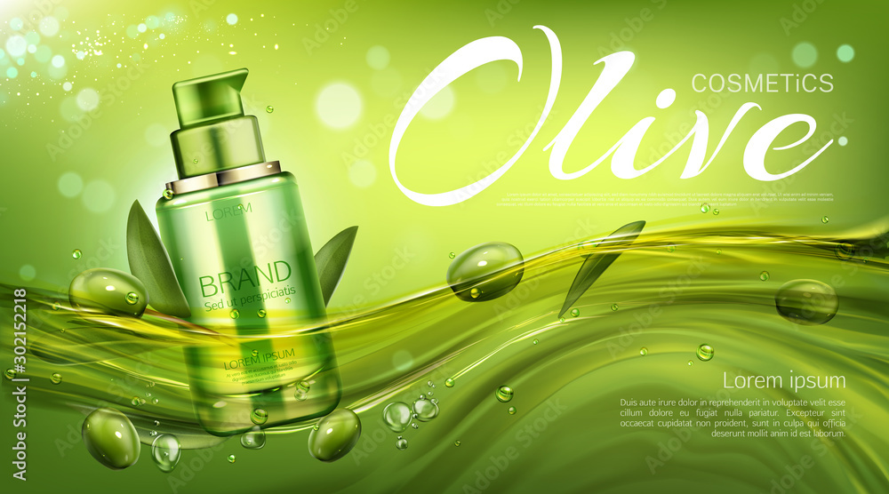 Fototapeta Olive cosmetics pump bottle, natural beauty product, eco cosmetic tube mock up floating in water on green background with berries and leaves. Moisturize promo banner. Realistic 3d vector illustration