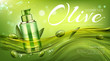 Olive cosmetics pump bottle, natural beauty product, eco cosmetic tube mock up floating in water on green background with berries and leaves. Moisturize promo banner. Realistic 3d vector illustration