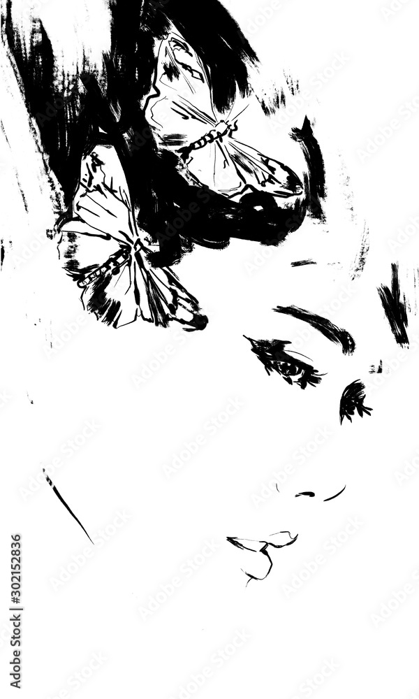 Abstract asian woman face with butterflies, fashion art painting