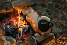 Black Enamel Cup Of Hot Drink ...