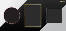 Set Of Blank Gray Geometric Re...