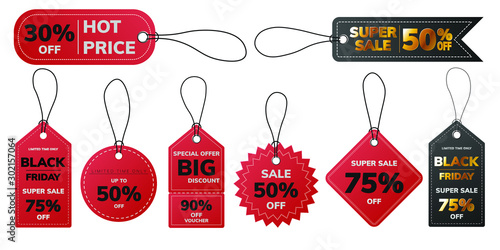 Cuadros en Lienzo  Red, Black, Gold Paper Price tags   Badge hanging labels