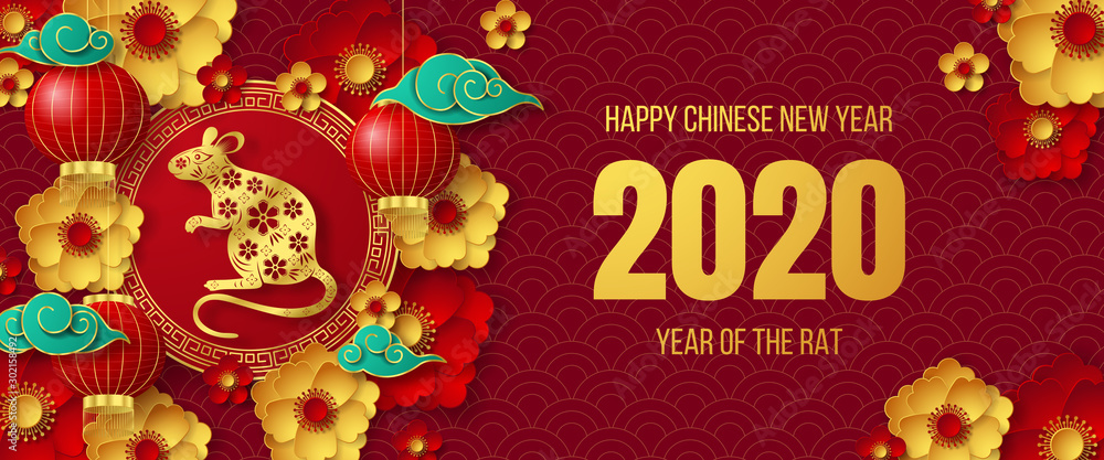 Fototapeta Happy Chinese New Year 2020 banner. Can be used for greetings card, flyers, invitation, posters, brochure, banners, calendar. Vector illustration