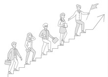 People Climb The Stairs. Business Concept, Follow The Leader. Teamwork. Movement Is A Success. Career Ladder. Linear Vector Illustration. Editable Stroke