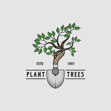 Plant Trees Abstract Logo Design Illustration For Garden Plant. Vector Combination Of Plant With Scop For Logo