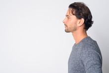 Closeup Profile View Of Handsome Hispanic Man
