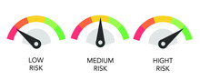 Risk Rate Concept With Flat Design Speedometer. Clip-art Illustration