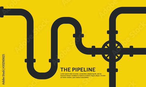 Pinturas sobre lienzo  Pipeline concept flat design background on yellow