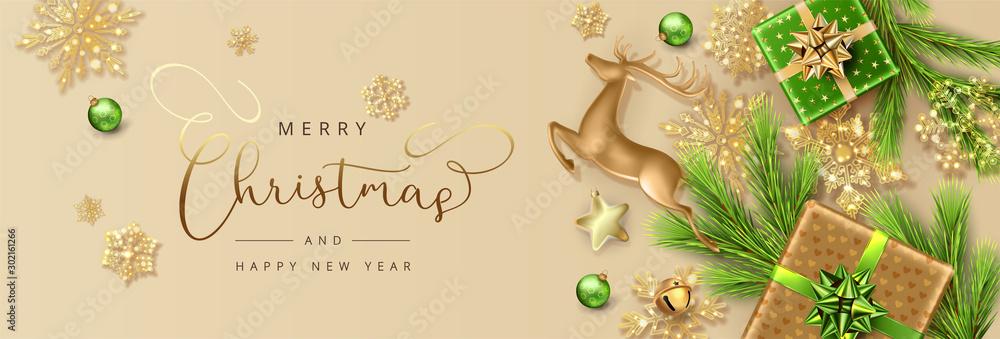 Fototapeta Christmas and New Year banner