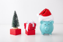 Piggy Bank With Christmas Hat,...