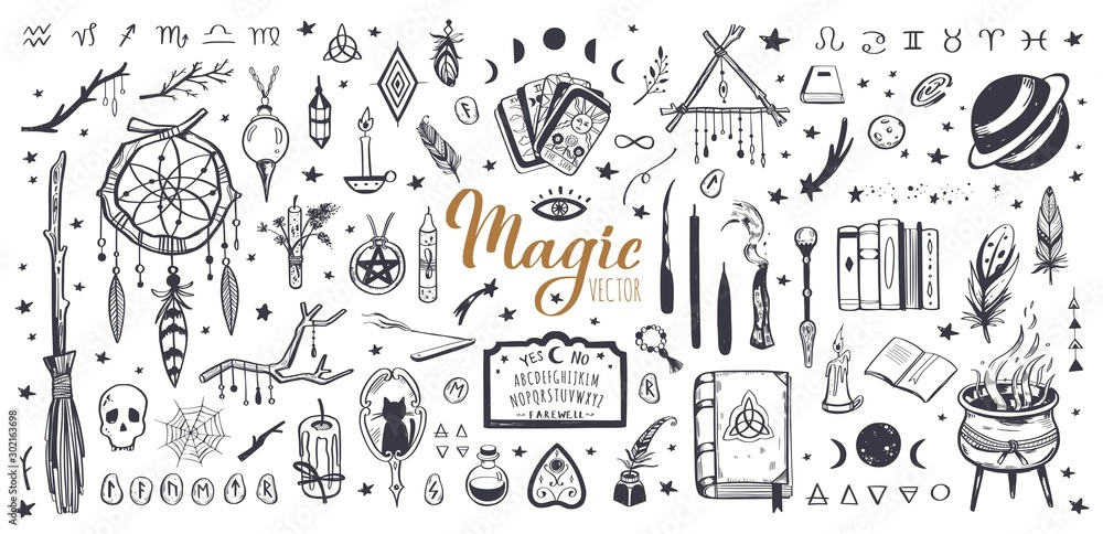 Fototapeta Witchcraft, magic background for witches and wizards. Wicca and pagan tradition. Vector vintage collection. Hand drawn elements candles, book of shadows, potion, tarot cards etc.