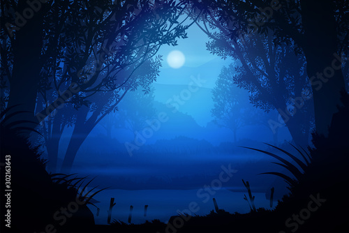 Natural forest Mountains and streams  Sunrise and sunset Light moon Landscape wallpaper Illustration vector style Colorful tone background