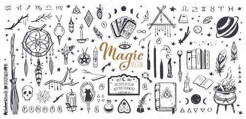 Witchcraft, magic background for witches and wizards Canvas
