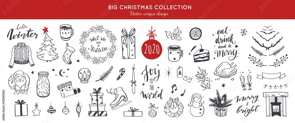 Fototapety, obrazy: Big Merry Christmas and happy New Year festive vector collection. Different hand drawn doodle elements, Christmas tree, fireplace, coxy sweater, Winter holidays attributes. Handwritten Lettering.