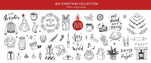 Big Merry Christmas and happy New Year festive vector collection. Different hand drawn doodle elements, Christmas tree, fireplace, coxy sweater, Winter holidays attributes. Handwritten Lettering.