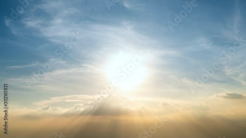 Time-lapse 4K sunset cloud moving away from the abstract colorful background - 302165831