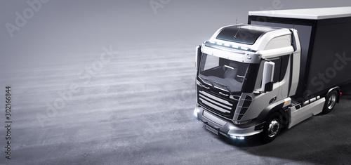 Fotografía  Truck with cargo trailer. Transport, shipping industry.