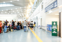 People In Airport Terminal,blurred Background