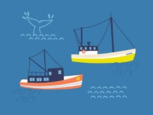 Fishing Trawlers In Open Sea F...