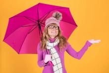 Adult Woman With Warm Umbrella...