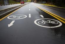 Sign Of Bicycle Lane On Asphal...