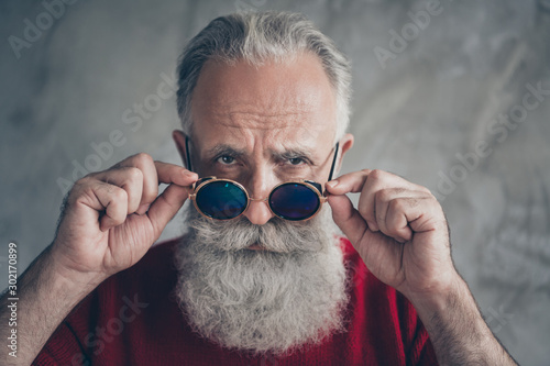 Obraz Where you 2020. Close up photo of brutal serious old man touch his trendy specs look gorgeous on christmas time wear red trendy jumper isolated over grey color background - fototapety do salonu