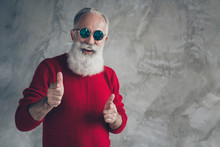 Portrait Of Crazy Funny Old Man Point Yourself Indicate Funny Person Want Celebrate X-mas Party Wear Red Trendy Sweater Isolated Over Grey Color Background
