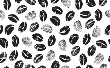 Panel Szklany Kawa Abstract Coffee Beans on White Background. Coffee Pattern. Grunge style. Vector illustration.