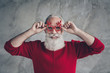 canvas print picture - Closeup photo of nice crazy white haired old man ready x-mas party wear cool stylish newyear specs red pullover hipster outfit isolated grey color wall background