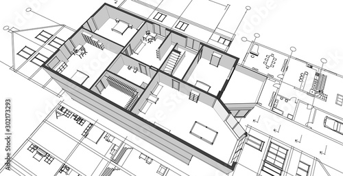 Fototapeta  house architecture sketch 3d illustration